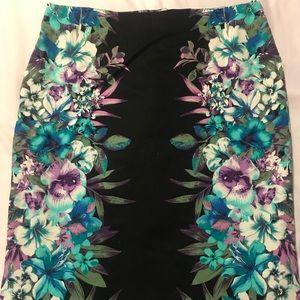 Dressy Tropical Floral Black Pencil Skirt